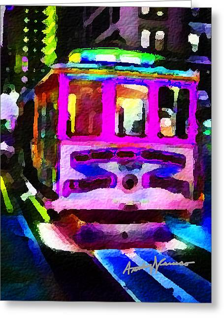 Psychedelic Cable Car Greeting Card by Anthony Caruso