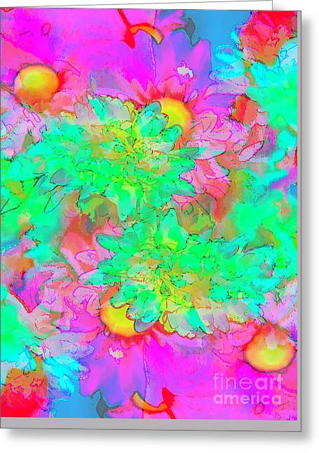 Psychedelic Citrus Explosion Greeting Card