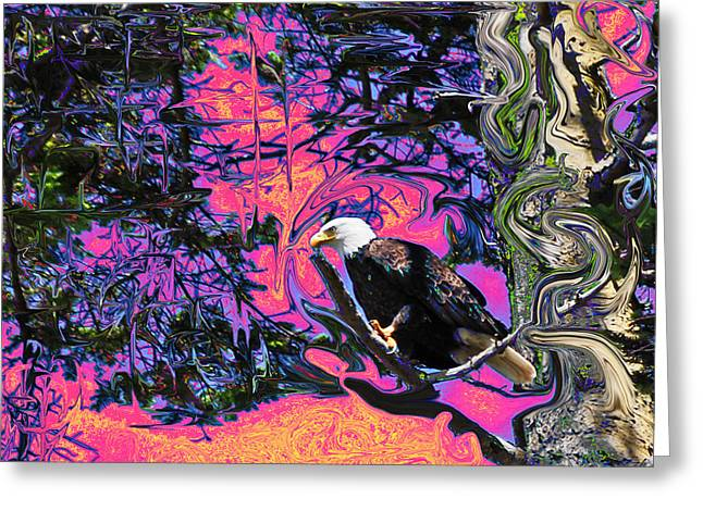 Psychedelic Eagle Greeting Card by Wilbur Young