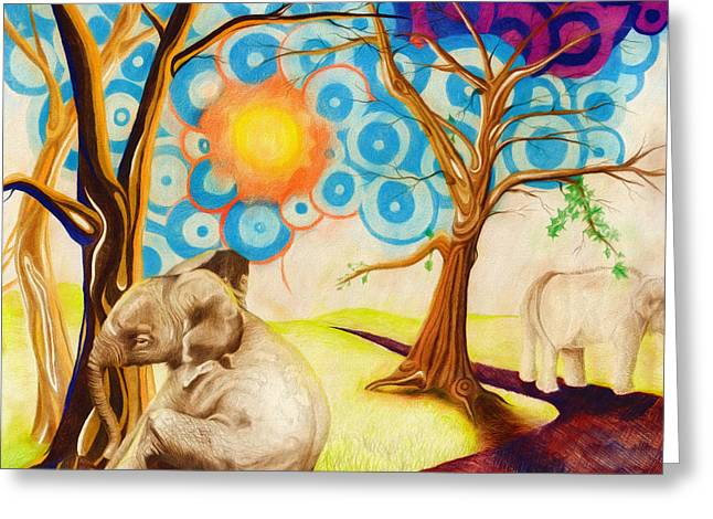 Greeting Card featuring the drawing Psychedelic Elephants by Shawna Rowe