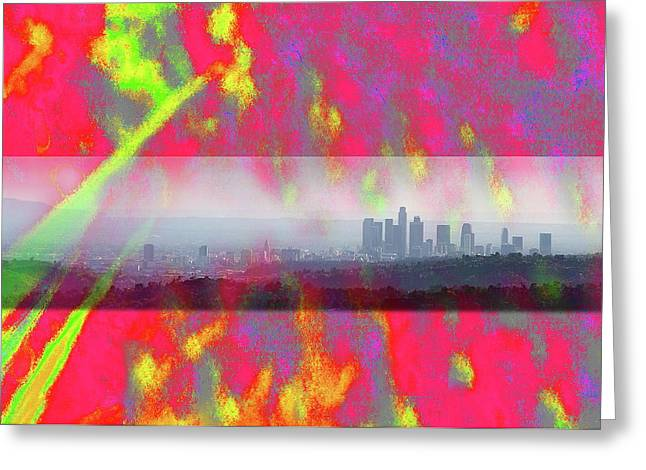 psychedelic energy of Los Angeles Greeting Card by Viktor Savchenko