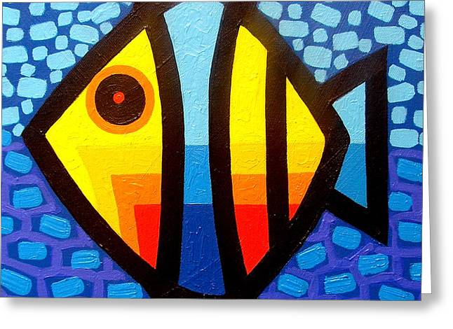 Psychedelic Fish Greeting Card by John  Nolan