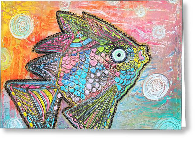 Psychedelic Fish Greeting Card by Laura Barbosa