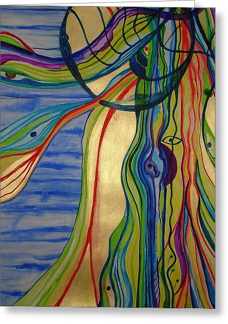 Psychedelic Jellyfish Greeting Card by Erika Swartzkopf