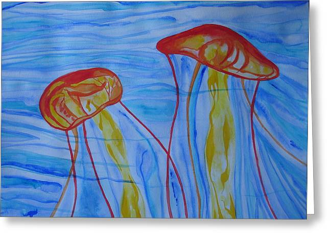 Psychedelic Lion's Mane Jellyfish Greeting Card by Erika Swartzkopf