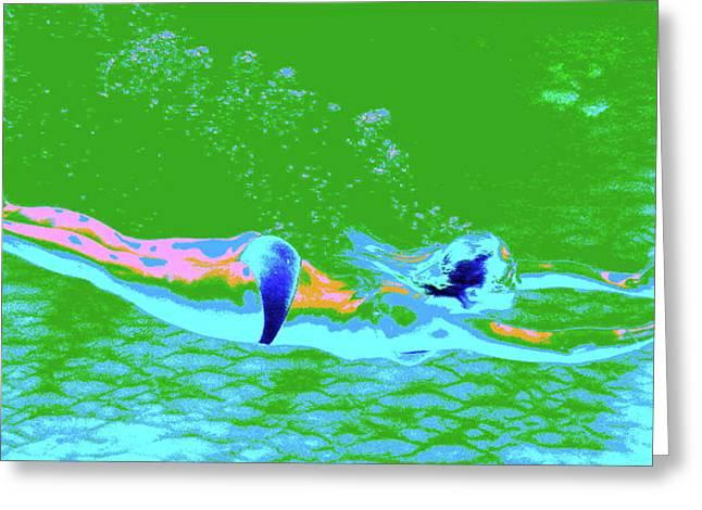 Psychedelic Makua Mermaid Greeting Card by Erika Swartzkopf
