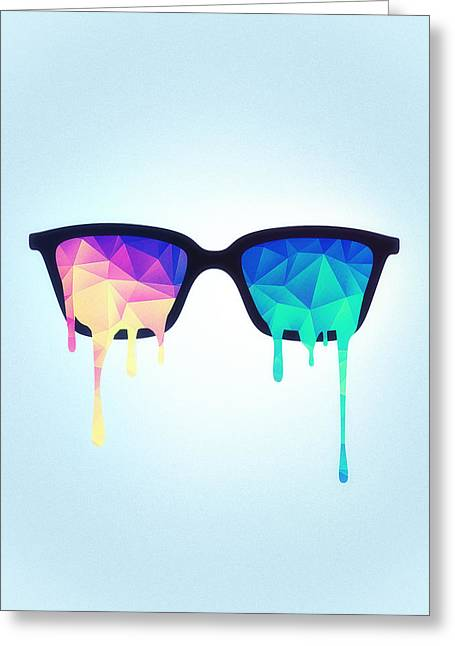 Psychedelic Nerd Glasses With Melting Lsd Trippy Color Triangles Greeting Card by Philipp Rietz