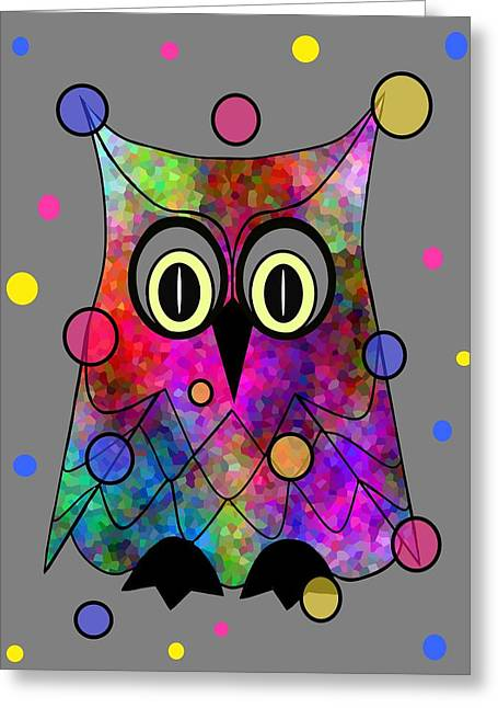 Psychedelic Owl Greeting Card by Kathleen Sartoris