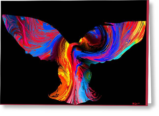 Psychedelic Owl Silhouette Greeting Card by Abstract Angel Artist Stephen K