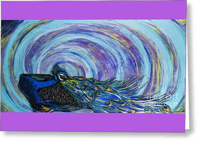 Psychedelic Peacock Greeting Card by Becca Lynn Weeks