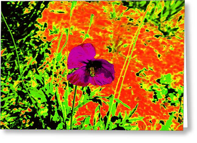 Psychedelic Poppy 3 Greeting Card by Ingrid Dance