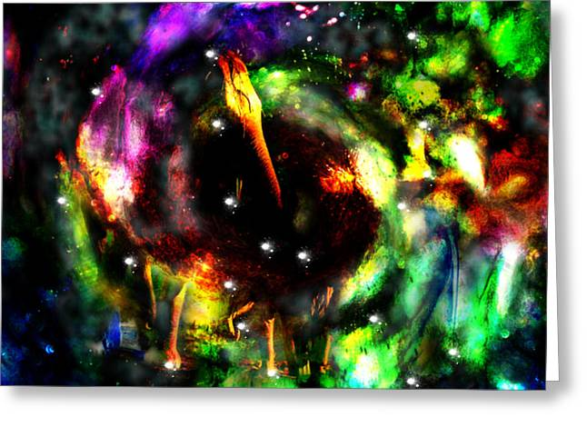 Psychedelic Rainbow Elephant Constellations Greeting Card by Abram Lopez