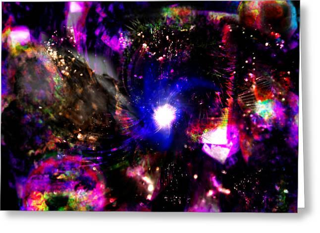 Psychedelic Rainbow Nebula Galaxy Universe Greeting Card by Abram Lopez