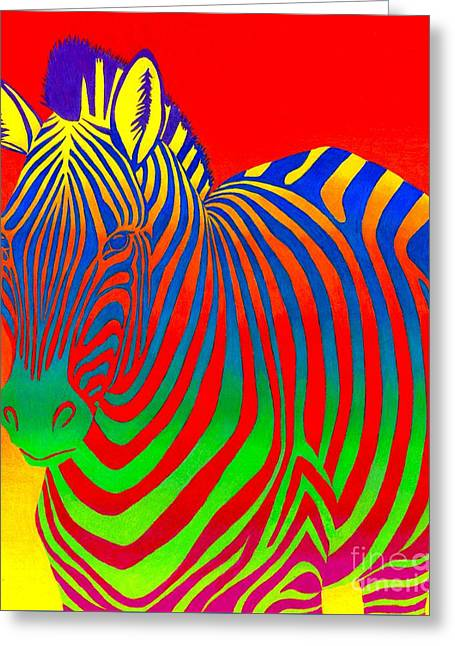 Psychedelic Rainbow Zebra Greeting Card