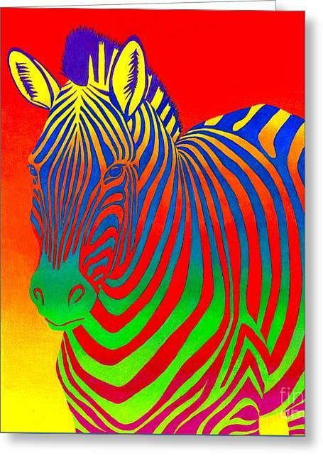 Psychedelic Rainbow Zebra Greeting Card