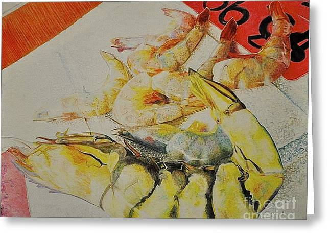 Psychedelic Shrimp Greeting Card by Autumn Wimmer