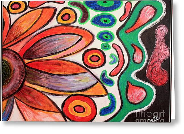 Greeting Card featuring the painting Psychedelic Summer by Jolanta Anna Karolska