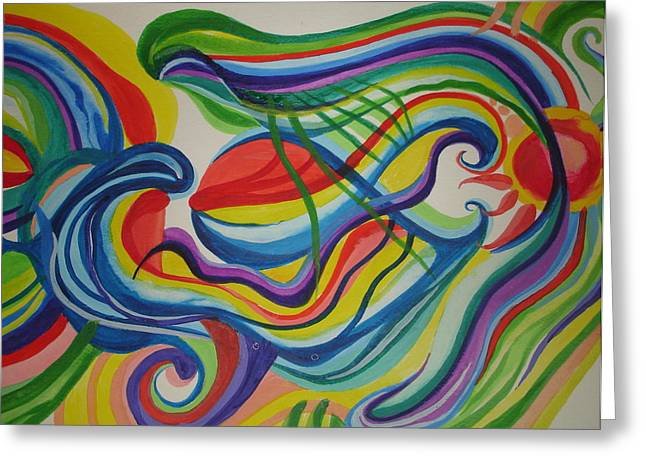 Psychedelic Swim Greeting Card