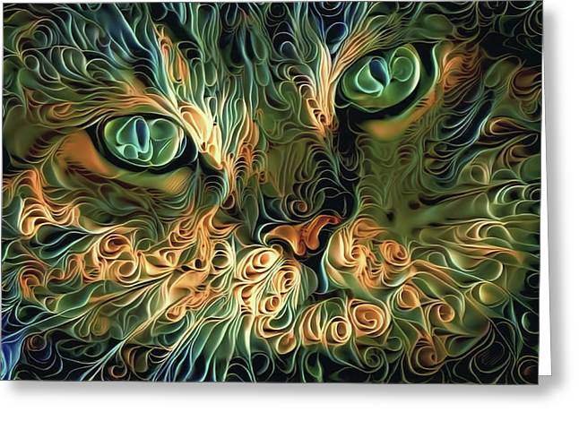 Psychedelic Tabby Cat Art Greeting Card by Peggy Collins