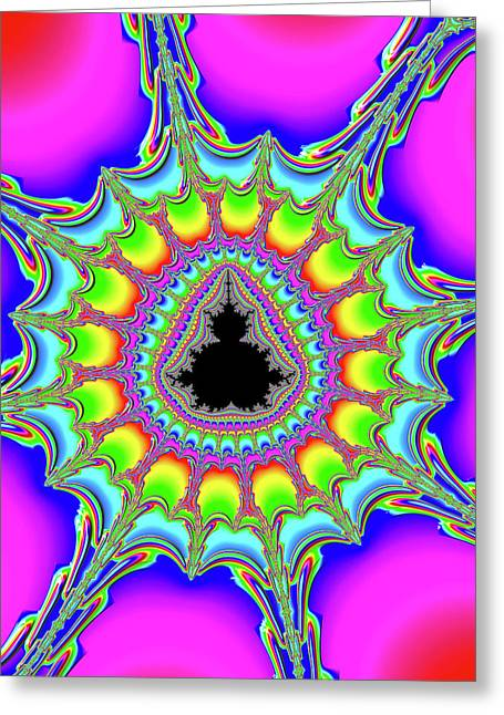 Psychedelic Trippy And Colorful Fractal Greeting Card by Matthias Hauser