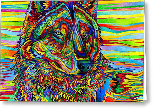 Psychedelic Wolf Greeting Card