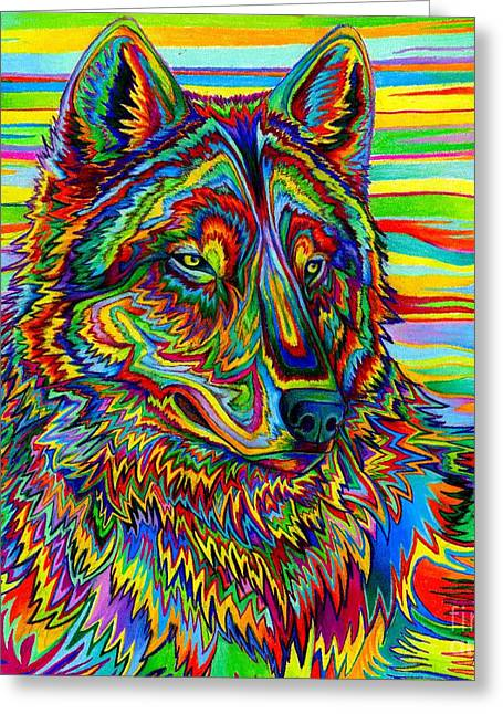 Psychedelic Wolf Greeting Card by Rebecca Wang