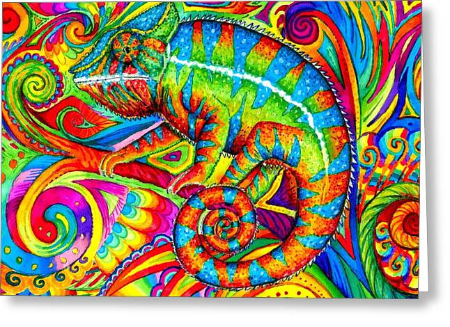 Psychedelizard Greeting Card by Rebecca Wang