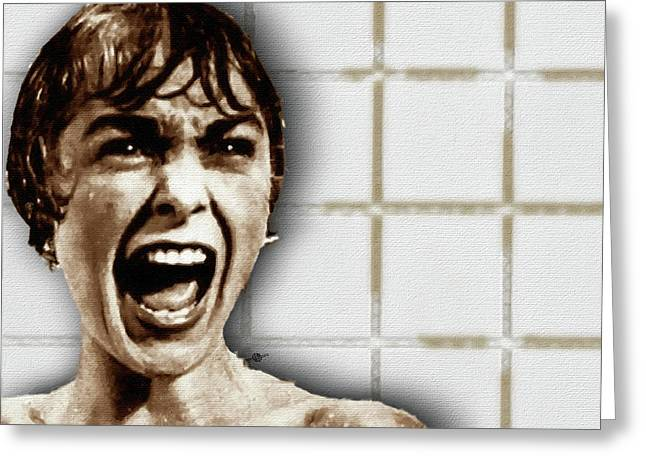 Psycho By Alfred Hitchcock, With Janet Leigh Shower Scene H Color Greeting Card