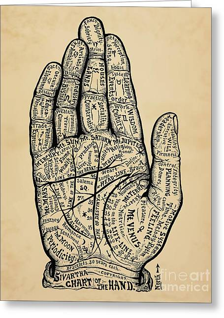 Psychology Chart Of The Hand Greeting Card