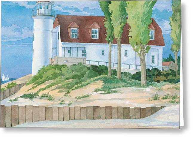 Pt. Betsie Lighthouse Greeting Card by Paul Brent