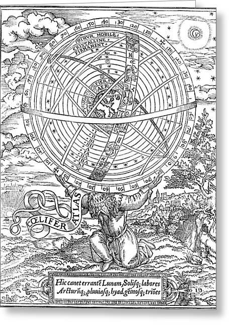 Ptolemaic System, Geocentric Model, 1531 Greeting Card by Folger Shakespeare Library