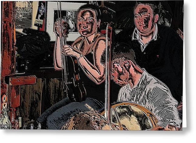 Pub Scene Three Greeting Card by Dave Luebbert