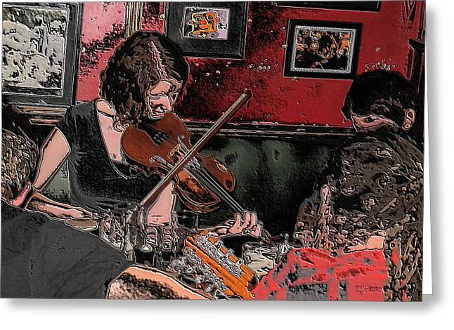 Pub Scene Two Greeting Card by Dave Luebbert