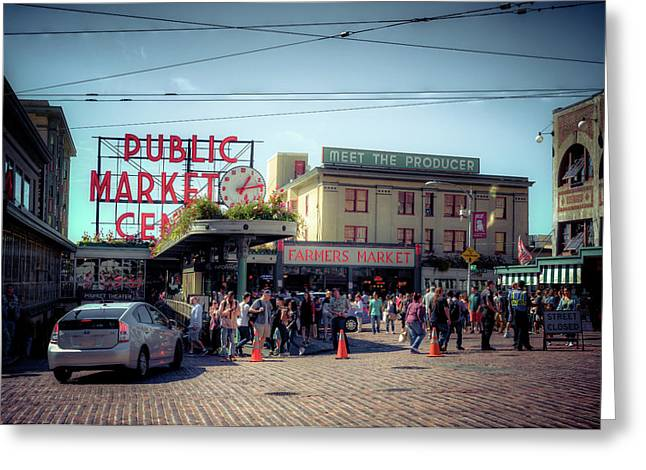 Public Market Crowd Greeting Card by Spencer McDonald