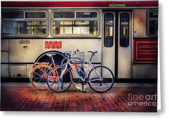 Public Tier Bicycles Greeting Card by Craig J Satterlee