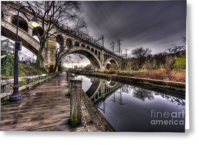 Puddles Under The Manayunk Bridge Greeting Card by Mark Ayzenberg