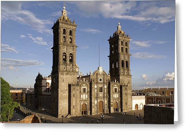 Puebla Cathedral Horizontal Mexico Greeting Card by John  Mitchell