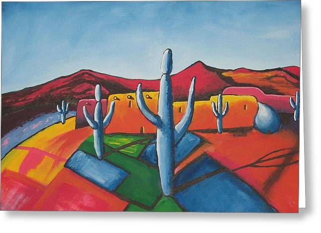 Greeting Card featuring the painting Pueblo by Antonio Romero
