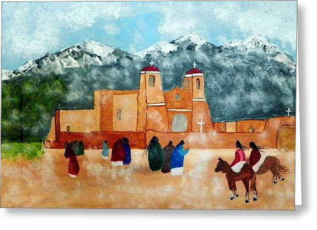 Pueblo Church Greeting Card by Joseph Frank Baraba