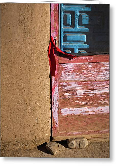 Pueblo Door Greeting Card by Joseph Smith