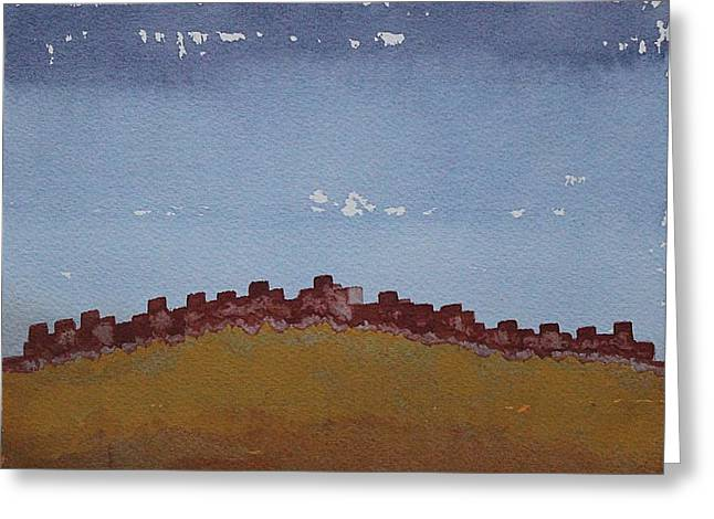 Pueblo On The Hill Original Painting Greeting Card