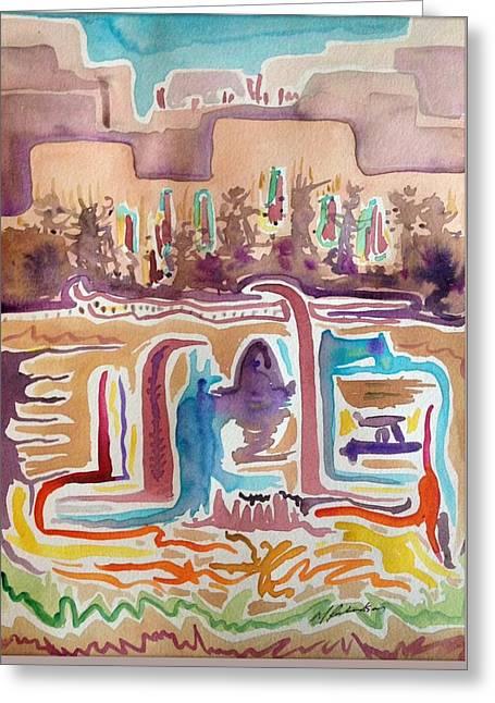 Pueblo Spirits/abstraction #1 Greeting Card