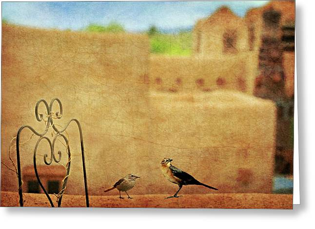 Greeting Card featuring the photograph Pueblo Village Settlers by Diana Angstadt