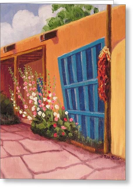 Puerta Azul En Taos Greeting Card
