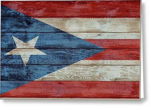 Puerto Rico Flag Barn Door Greeting Card