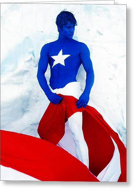 Puerto Rico Flag Greeting Card by Filippo Ioco
