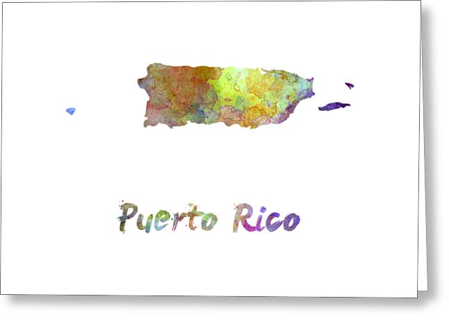 Puerto Rico  In Watercolor Greeting Card by Pablo Romero