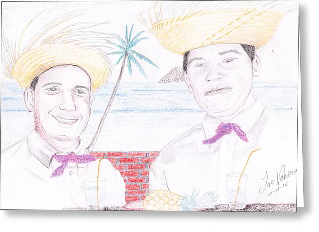 Pencil Art Greeting Cards - Puertorican Friends Greeting Card by Jose Valeriano