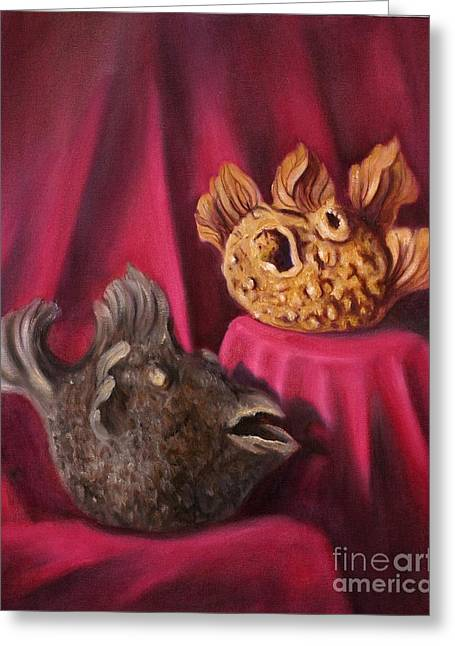 Puffer Fish Teapots Greeting Card by Randy Burns