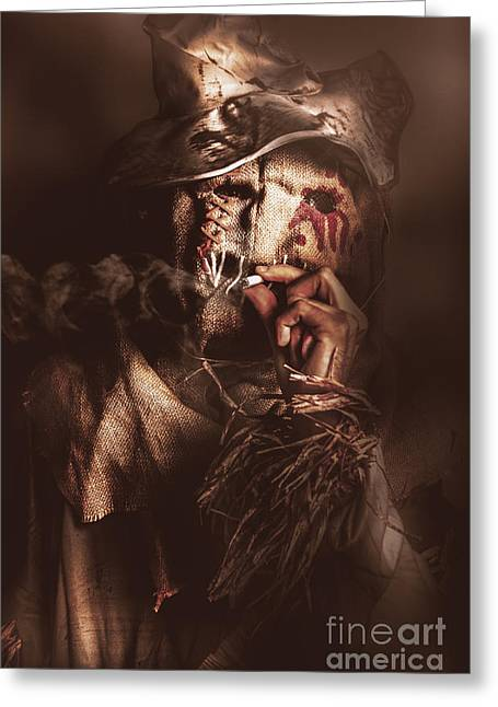 Puffing Billy The Smoking Scarecrow Greeting Card